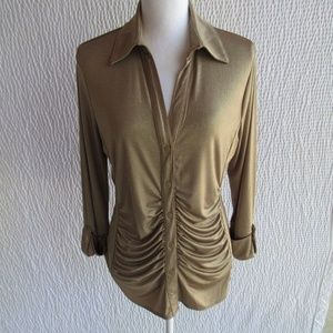 Gold Shirt Top XL Shimmers Ruched Travel Friendly